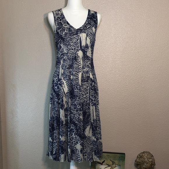 Coldwater Creek Blue and Cream Dress